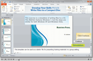 Write files to a CD using PowerPoint